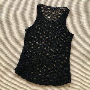 Eileen Fisher Linen Cotton Blend Crochet Top